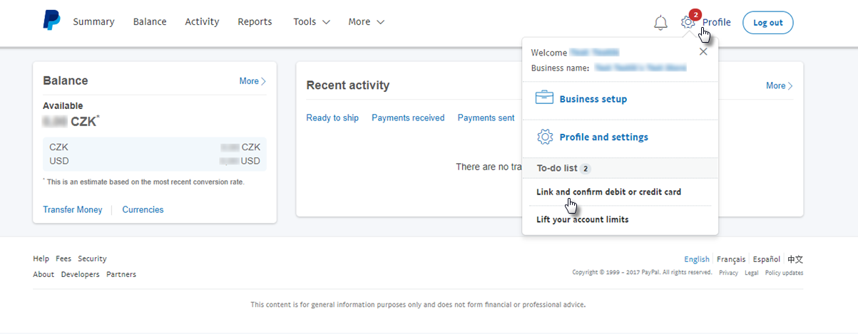 Webnode - How to Upgrade your PayPal Account to Business
