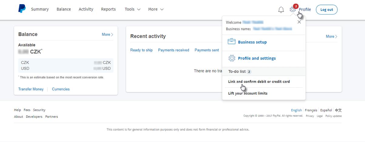 Paypal Karte.Webnode Ein Paypal Geschaftskonto Einrichten