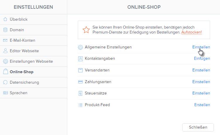 Online-Shop Einstellungen