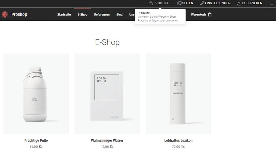 Online-Shop zur Webseite hinzufügen und entfernen