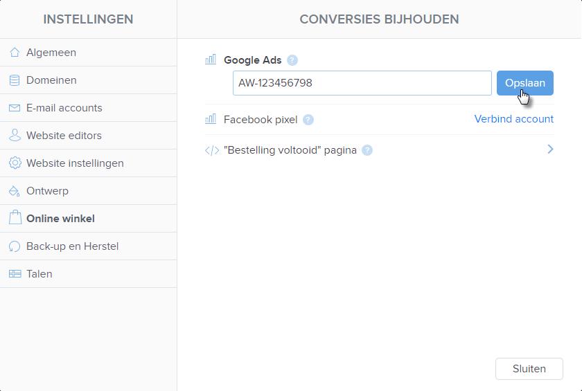 Aansluiten van de Website op Conversion Tracking Diensten