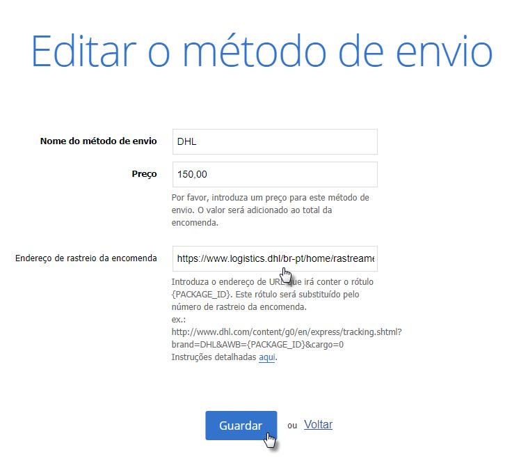 Webnode - Configurar rastreamento da remessa