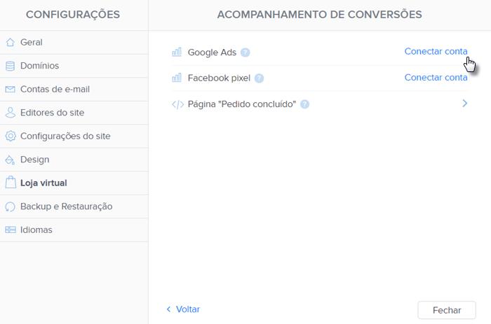 Como seguir conversões no site Webnode
