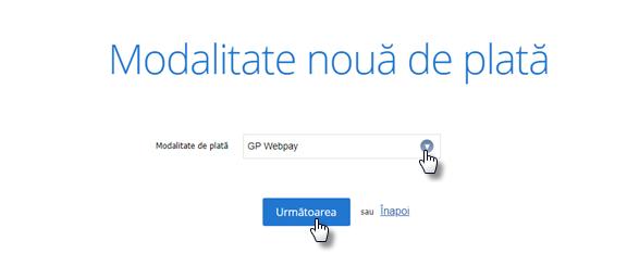 Cum să setați plăți cu cardul prin intermediul portalului de plată GP Webpay