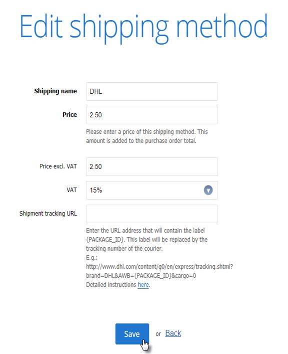 edit shipping