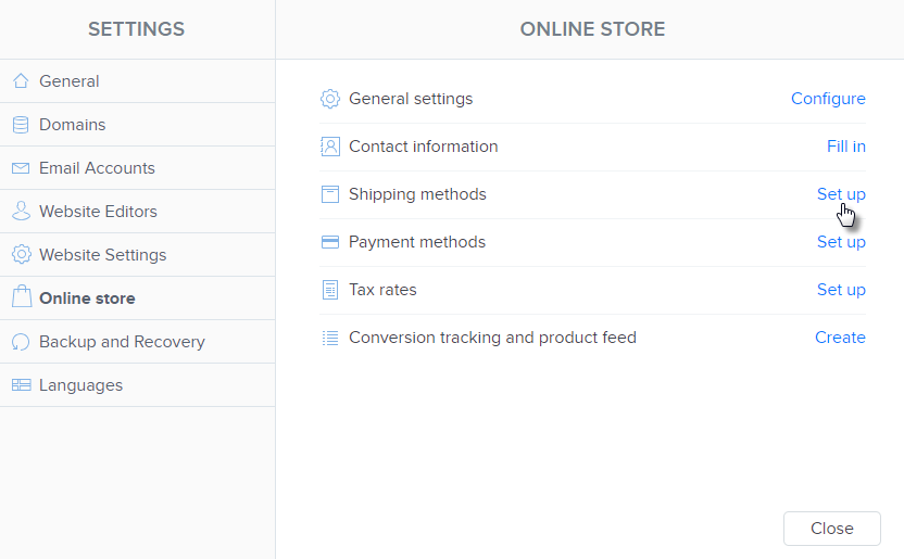 online store settings