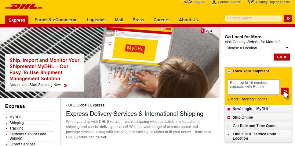 DHL homepage