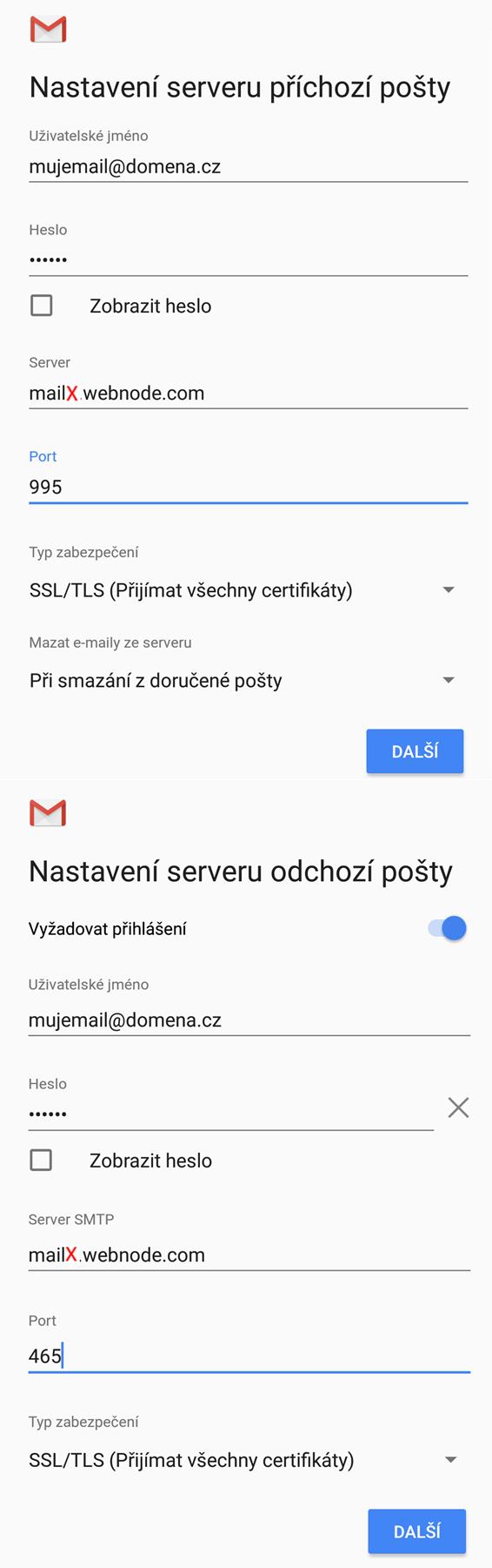 Nastavení pošty pro Android