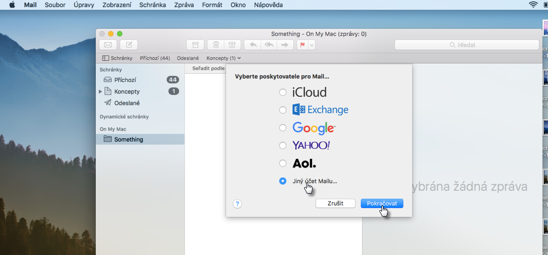 Nastavení pošty v Mac OS