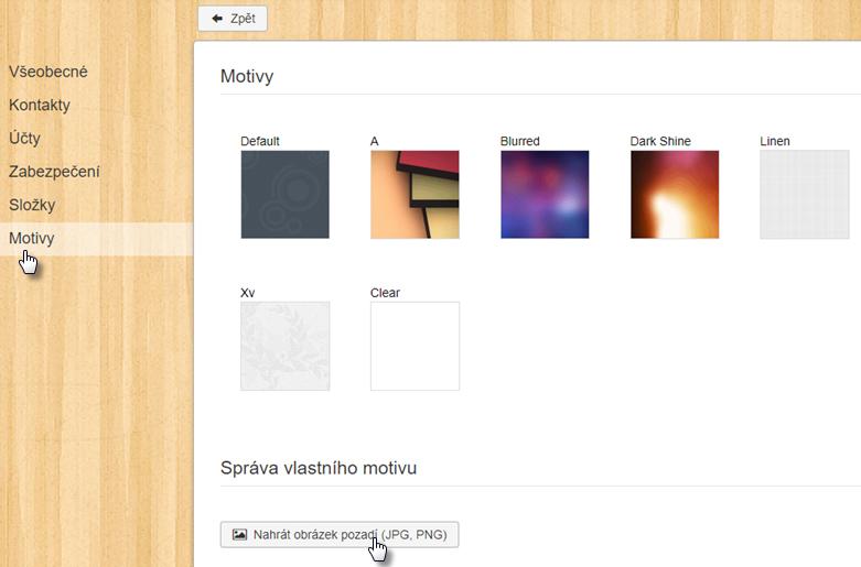 Změnit vzhled webmailu