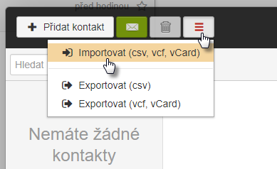 Import kontaktů do webmailu