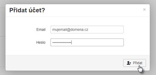Přidat další účet do webmailu
