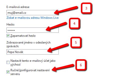 Nastavení pro Windows Live Mail