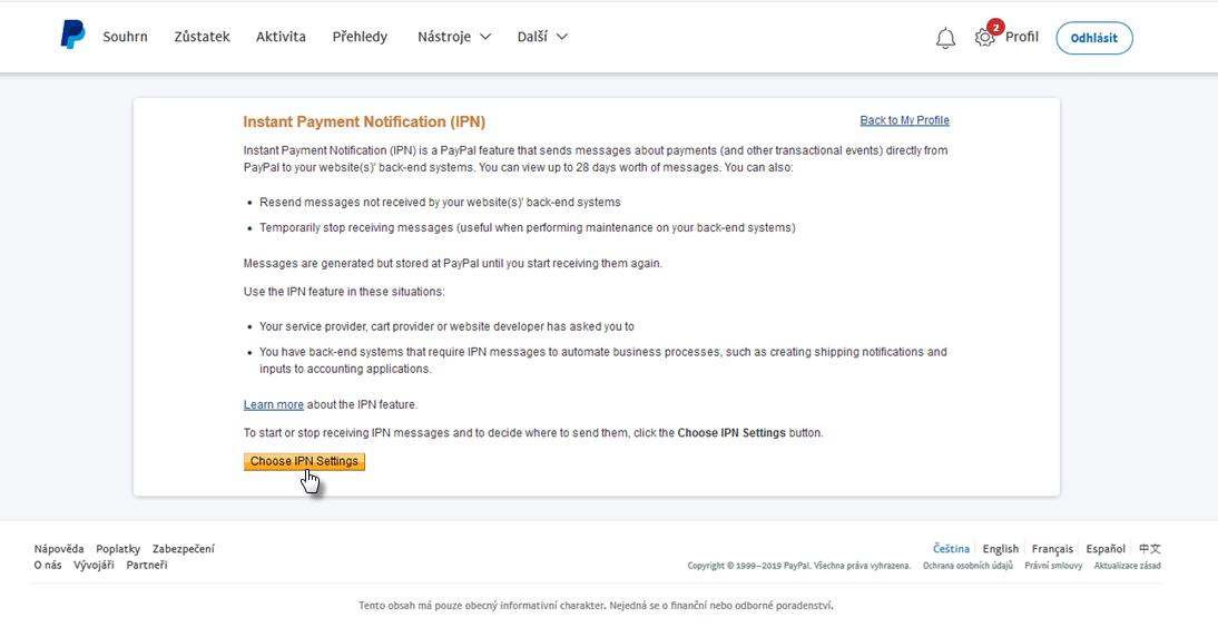 Jak nastavit platby přes PayPal
