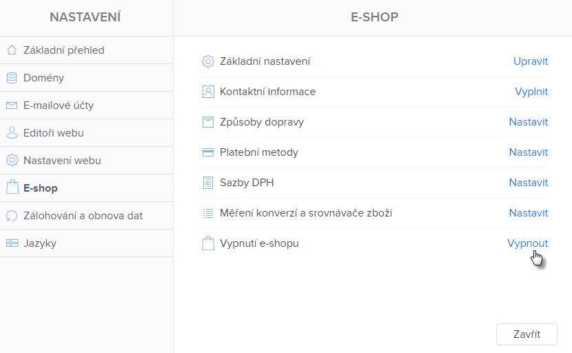 Jak na stránku přidat a odstranit e-shop