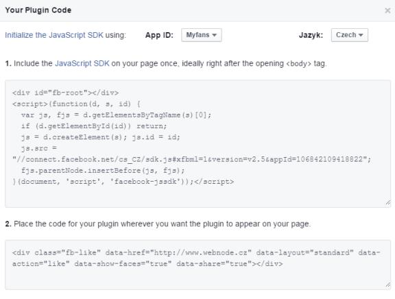 Jak vložit widget Facebooku