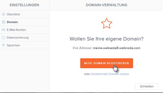 Neue Domain registrieren