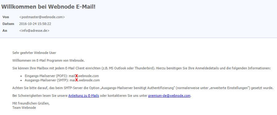 Webnode - E-Mail Konfiguration für Android