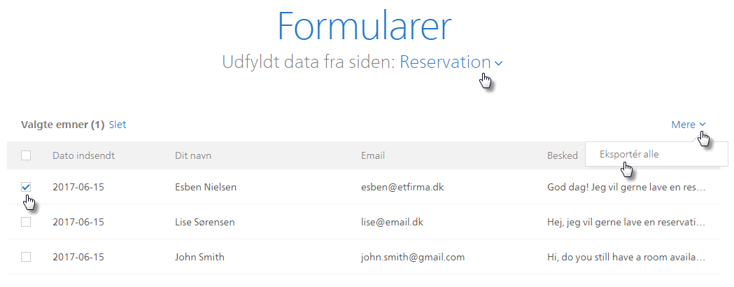 Eksport af data i udfyldte formularer