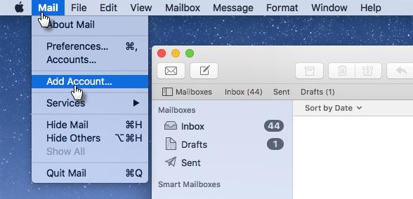 Webnode - Mail Settings for MacOS