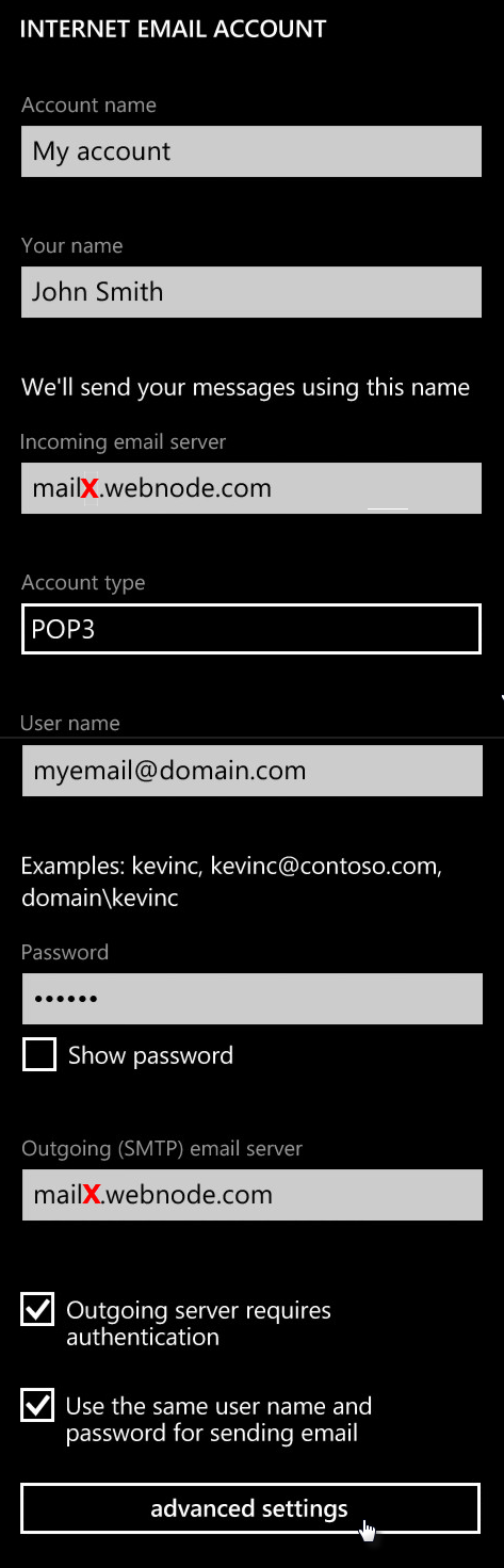 Adding Email Account with a Windows Phone