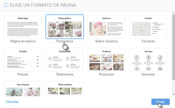 Crear una página nueva