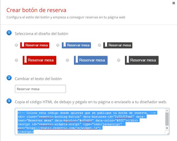 Webnode - Cómo subir un formulario de reservas de Reservio