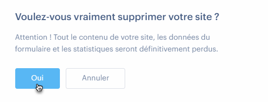Supprimer un site Webnode