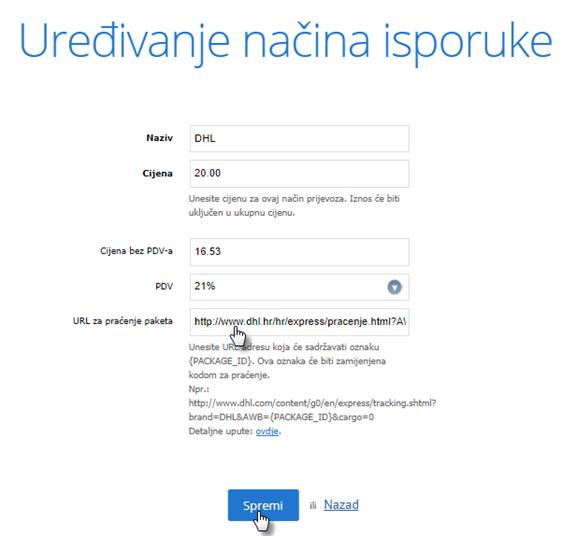 Kako postaviti praćenje pošiljke