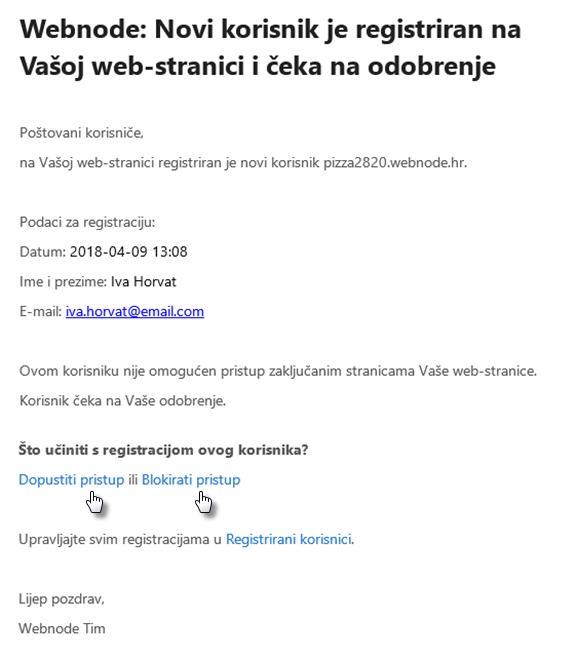 Omogućavanje pristupa zaključanim stranicama lozinkom