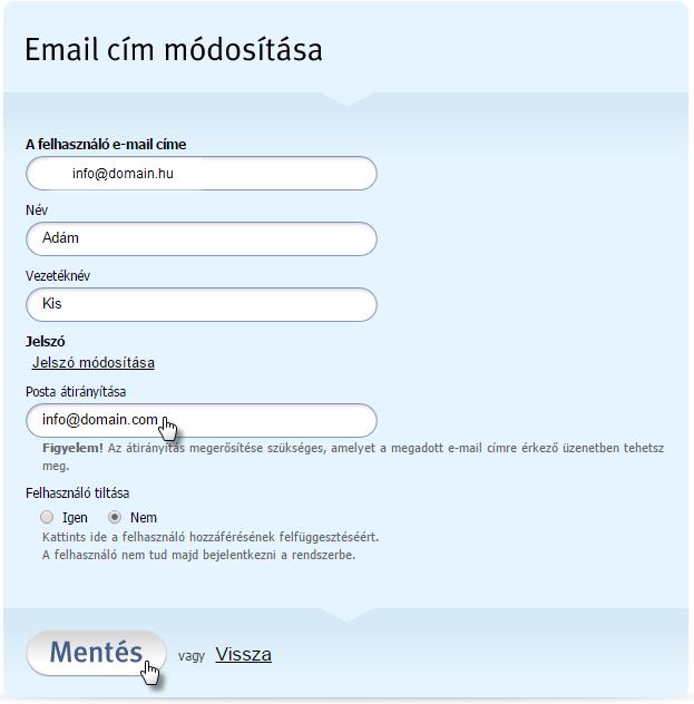 Az e-mailek átirányítása