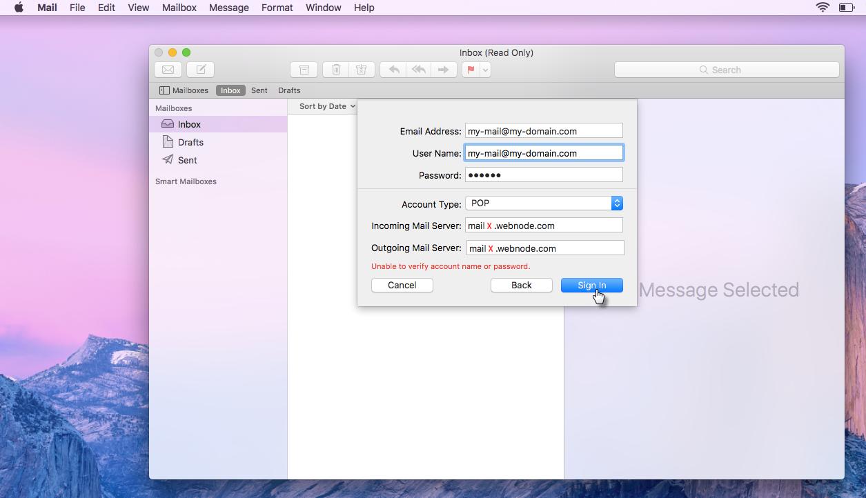Levelezés beállítása Mac operációs rendszerben