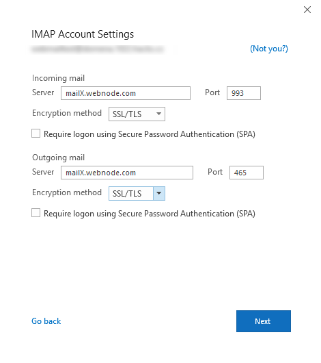 Webnode E-mail cím hozzáadása Microsoft Outlook 2016 rendszerhez