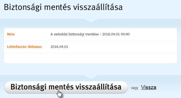 A weboldal helyreállítása biztonsági mentésről