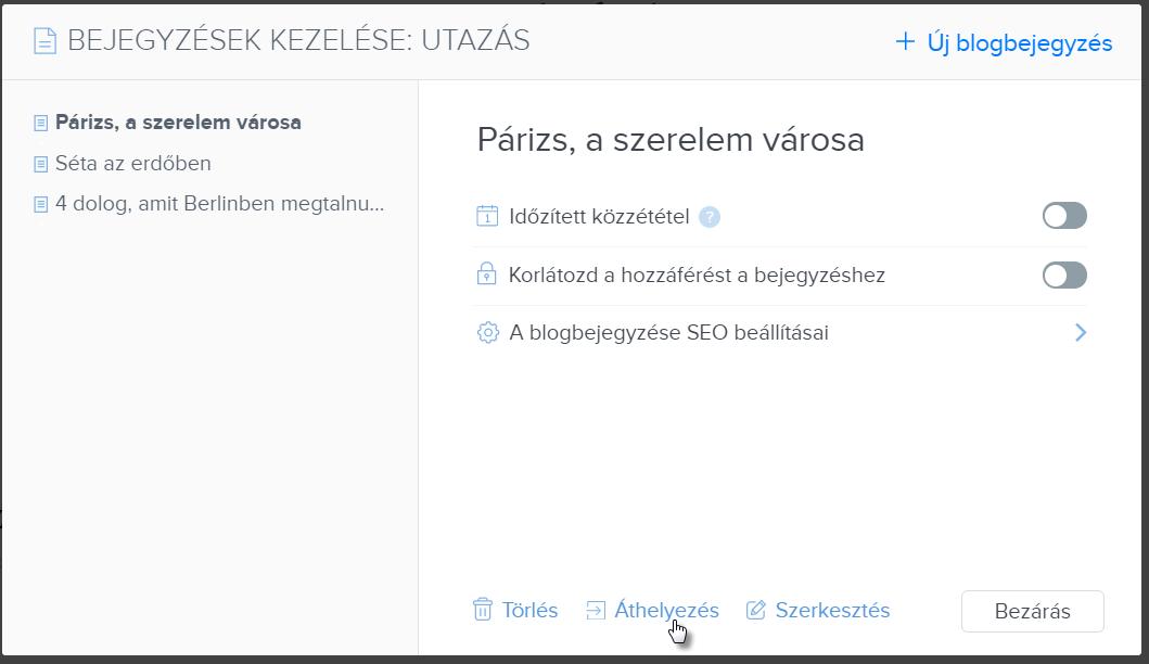 Blog kategóriák létrehozása