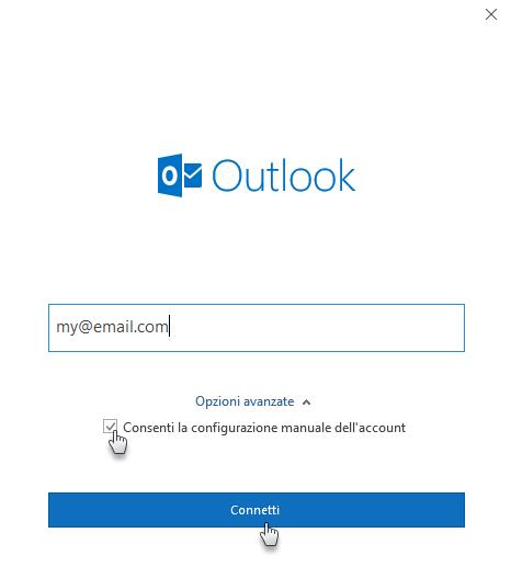 Configurare la webmail in Outlook 2016