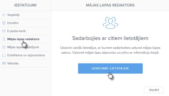Kā uzaicināt lietotājus rediģēt mājas lapu