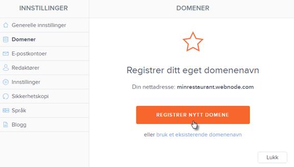 Registrer nytt domene