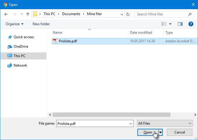 Trykk Åpne på filen du vil laste opp