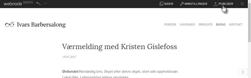 Trykk på PUBLISER øverst til høyre for å publisere blogginnlegget