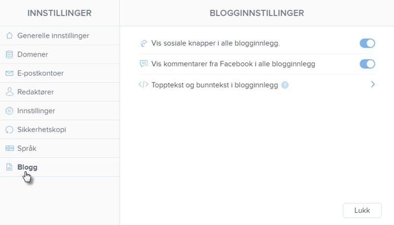 Trykk på Blogg på venstre side
