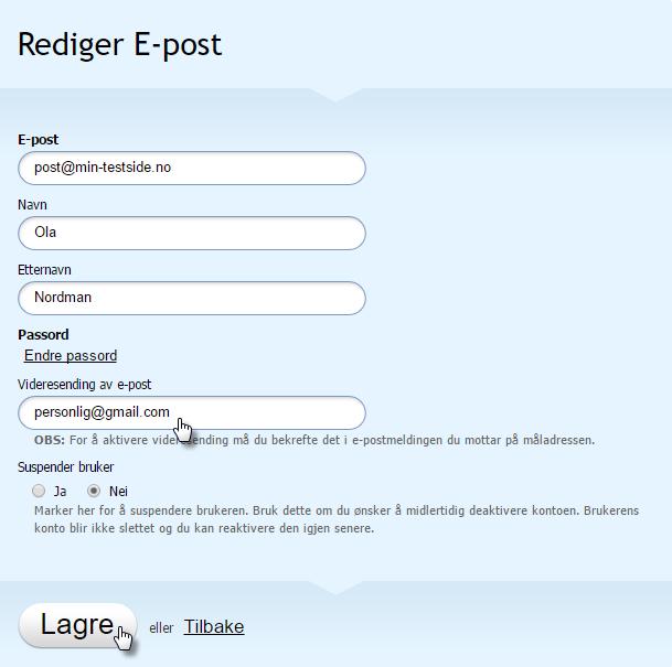 Fyll inn alternativ adresse og trykk Lagre