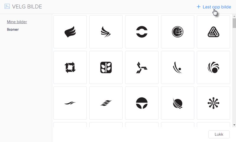 Velg et ikon fra listen eller last opp din egen