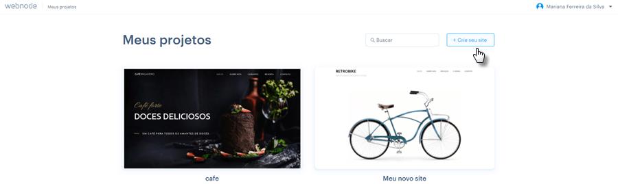 Criando novo site com Webnode