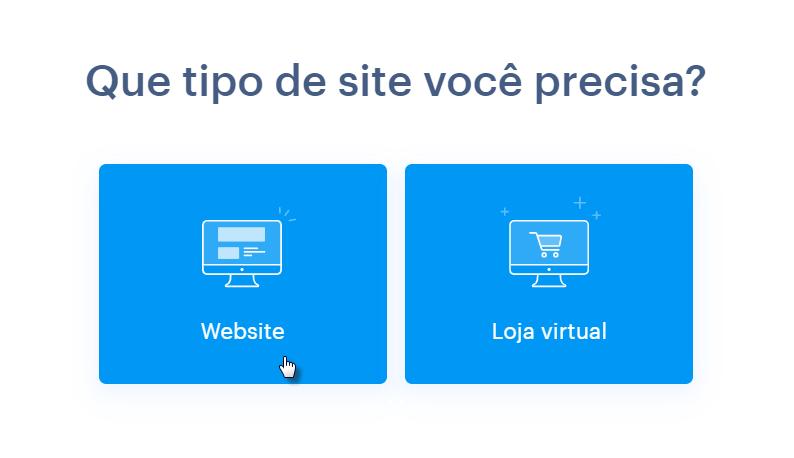 Escolhendo tipo de site na Webnode