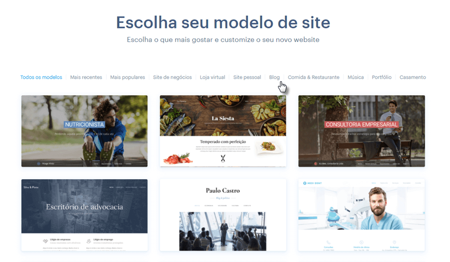 Escolhendo modelo para site Webnode