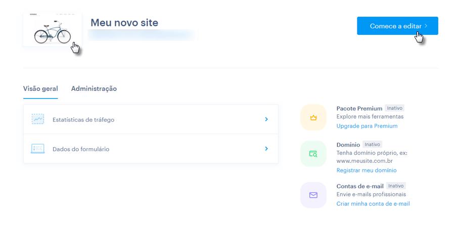 Acessar editor do site Webnode