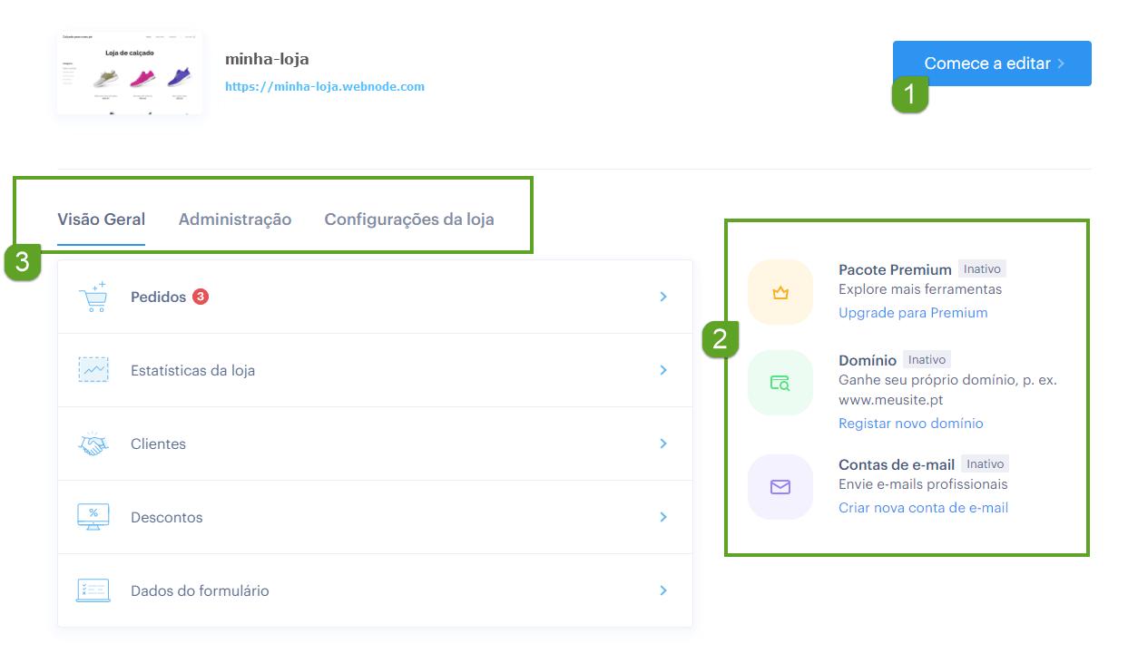 Gestão da conta Webnode