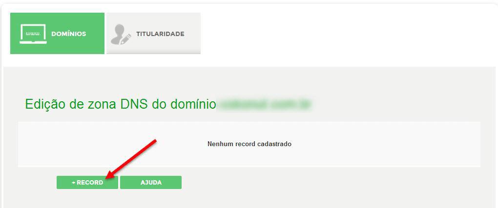 Adicionar DNS com opção Record em Registro.br