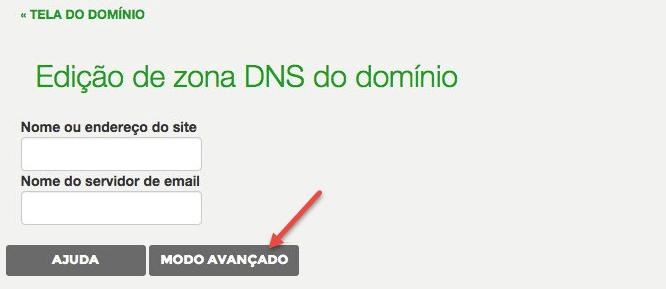 Modo avançado em configurações DNS em Registro.br